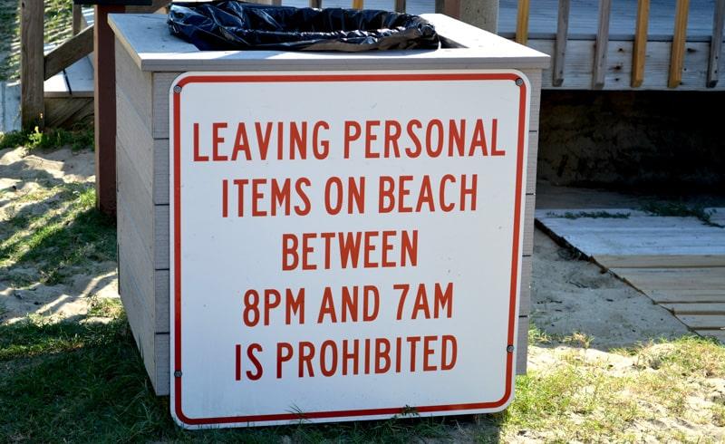 leaving items on beach