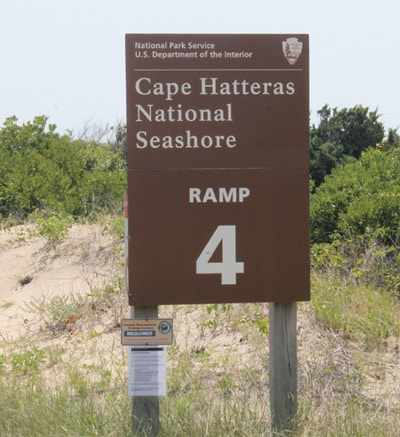 outer banks beach driving ramp sign