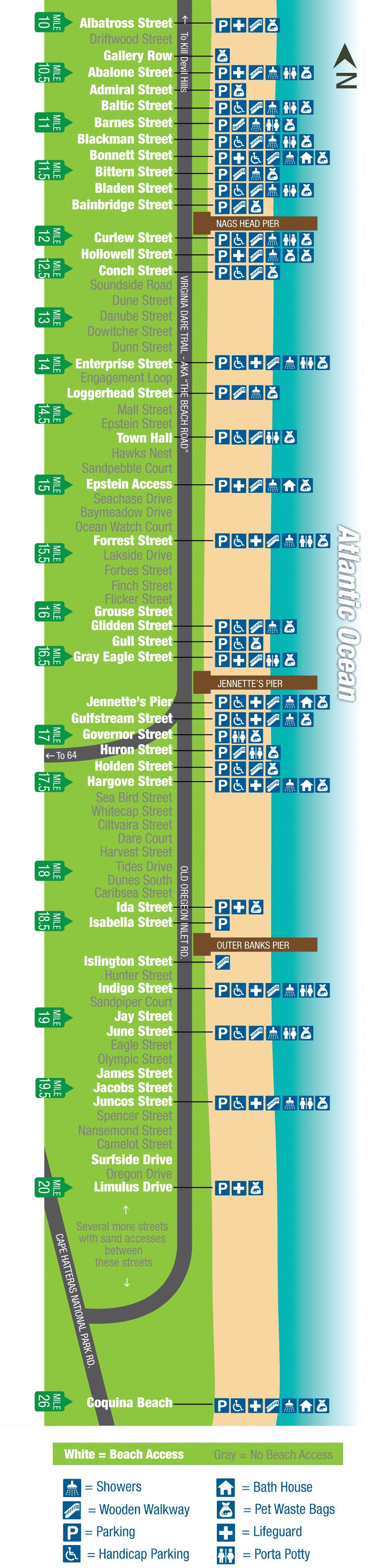 Nags Head Beach Access Map